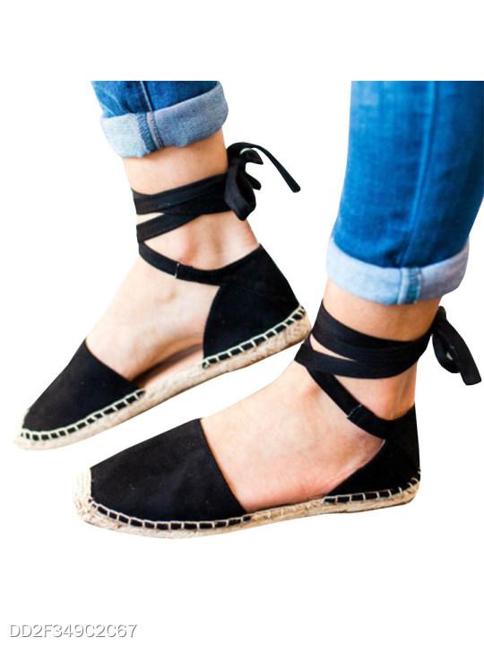 Plain Flat Velvet Ankle Strap Round Toe Casual Date Flat