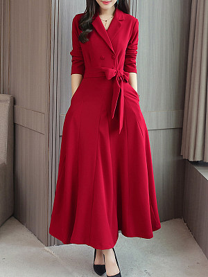 Fold-Over Collar Double Breasted Patch Pocket Plain Maxi Dress, 8581081