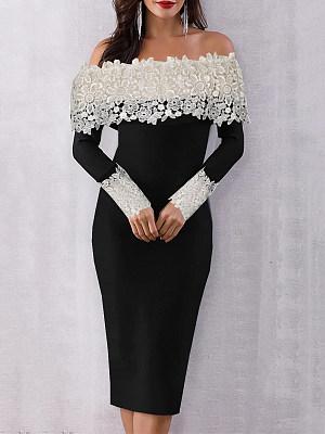 Open Shoulder Patchwork Bodycon Dress фото
