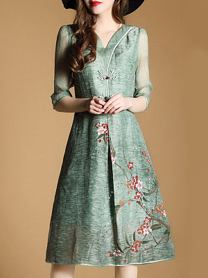 V Neck Decorative Buttons Floral Printed Maxi Dress фото