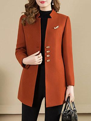 Collarless Plain Coat, 8966974
