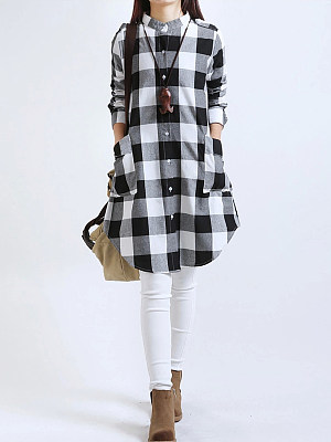 Plaid Band Collar Patch Pocket Curved Hem Shift Dress фото