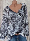 Image of Round Neck Lace Up Loose Fitting Color Block Tie Dye Blouses