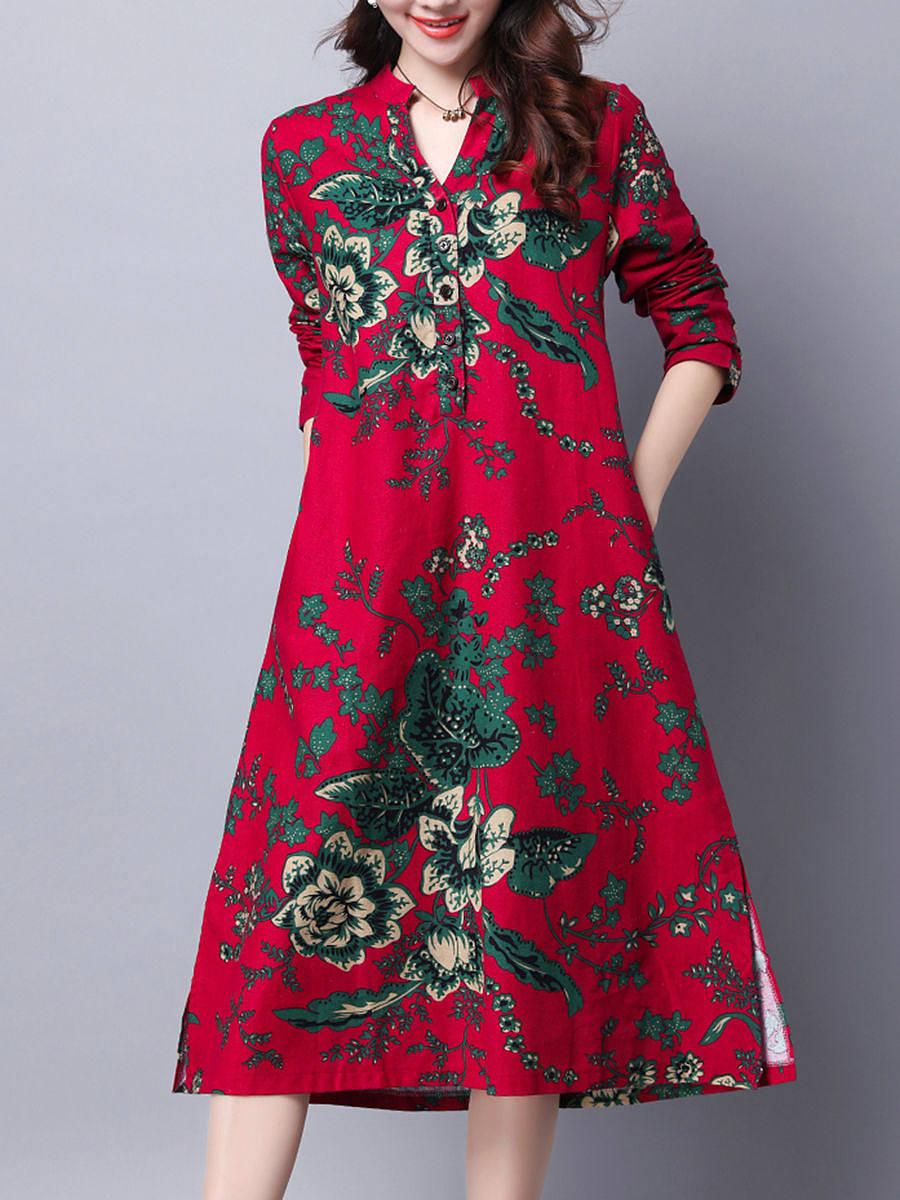 Ethnic Split Neck Pocket Printed Maxi Dress