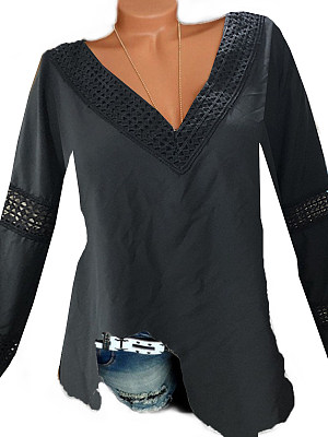 Deep V Collar Patchwork Sexy Lace Plain Long Sleeve Blouse, 8306161