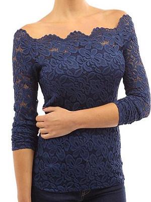 Open Shoulder  Decorative Lace  Patchwork Plain Long Sleeve T-Shirts