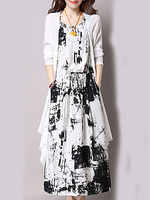 Round Neck Patch Pocket Print Two-Piece Maxi Dress, 5535426