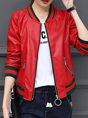 Zips Contrast Piping Plain Long Sleeve Jackets, 6158963