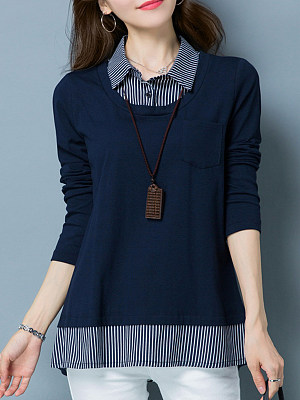 Lapel Patchwork Casual Fake Two-Piece Long Sleeve Blouse, 9634978