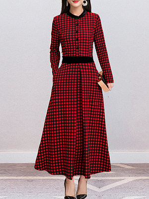 Round Neck Patch Pocket Single Breasted Checkered Maxi Dress