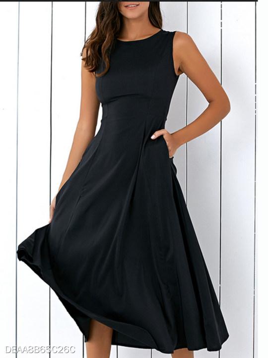 Round Neck Pleated Bodice Maxi Dress Berrylook Com