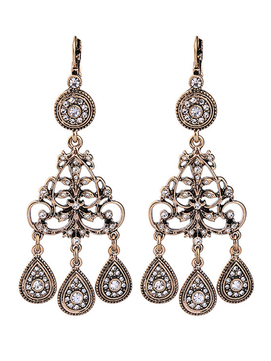 Hollow Out Rhinestone Drop Earrings