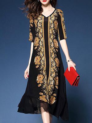 V-Neck  Asymmetric Hem  Abstract Print  Blend Maxi Dress