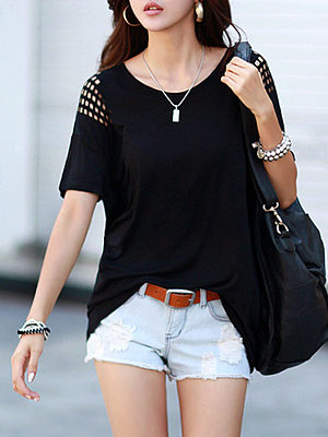 Купить Round Neck Cutout Plain Short Sleeve T-Shirts