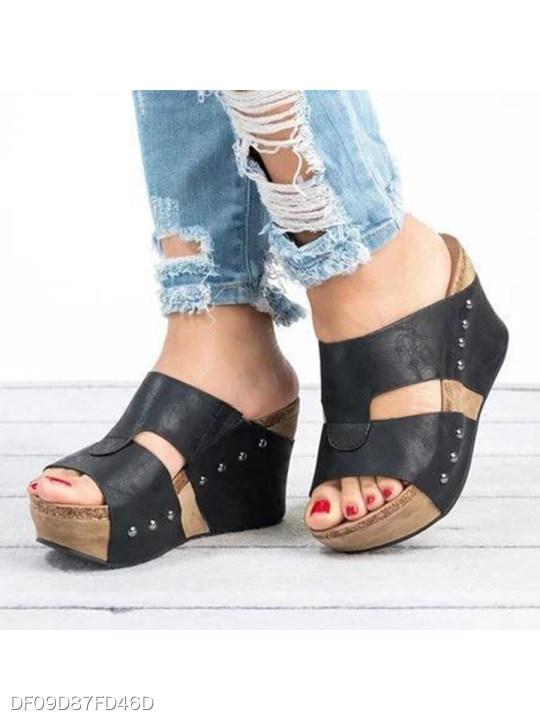 Plain High Heeled Peep Toe Date Outdoor Wedge Sandals