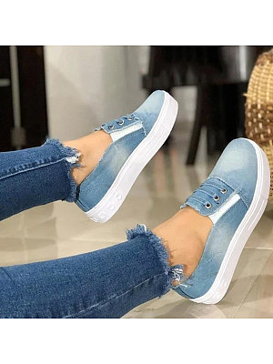 Plain Round Toe Casual Sneakers, 7414498