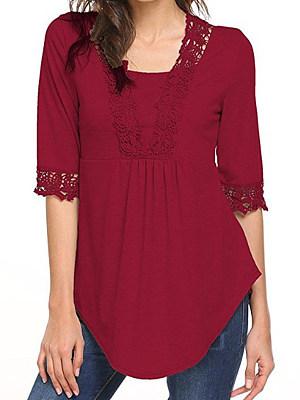 V Neck Patchwork Lace Short Sleeve T-Shirts