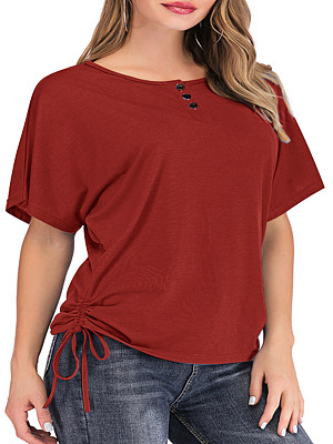 Round Neck Ruffled Hem Plain Short Sleeve T-Shirts, 6748988