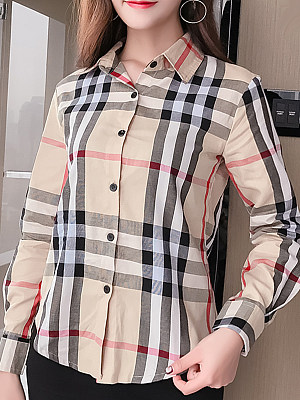 Turn Down Collar Patchwork Single Breasted Checkered Blouses