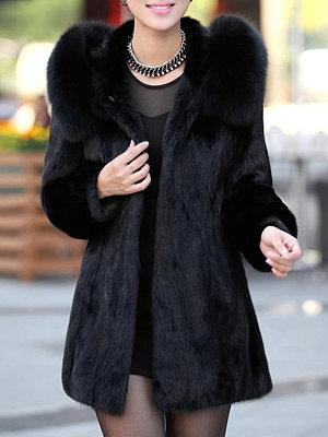 Luxury Black Hooded Faux Fur Coat