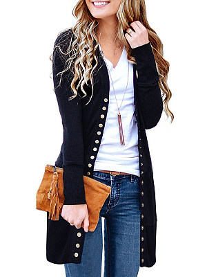 Patchwork Casual Plain Single Breasred Long Sleeve Cardigan фото