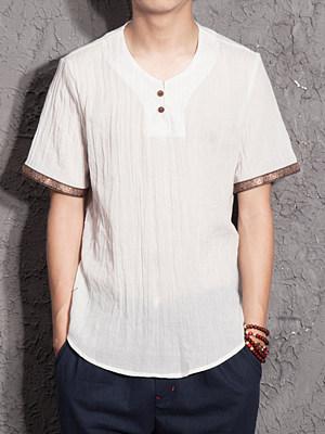 V-Neck  Contrast Trim T-Shirt