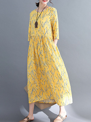 Round Neck Patch Pocket Print Maxi Dress, 7144531
