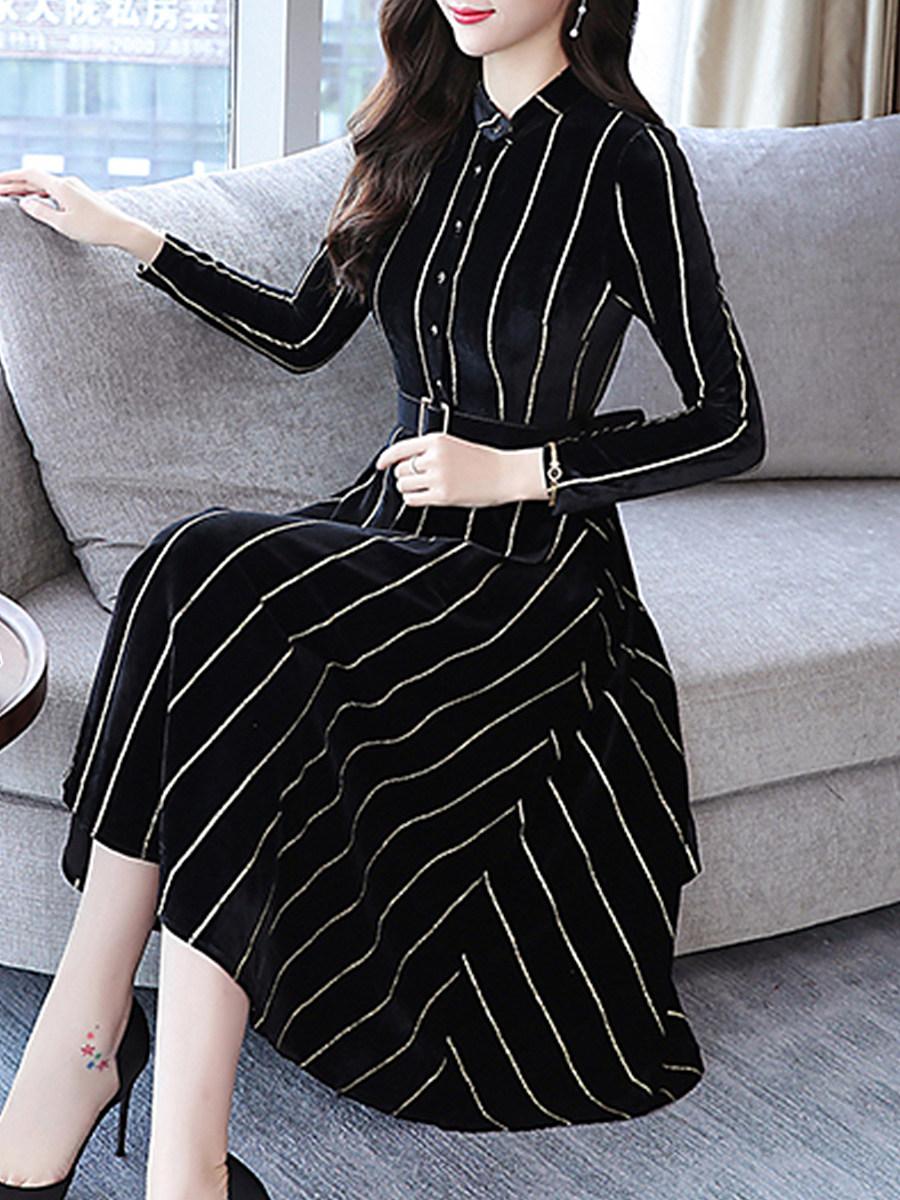 Round Neck Single Breasted Striped Skater Dress