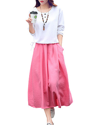 Round Neck Patch Pocket Color Block Maxi Dress