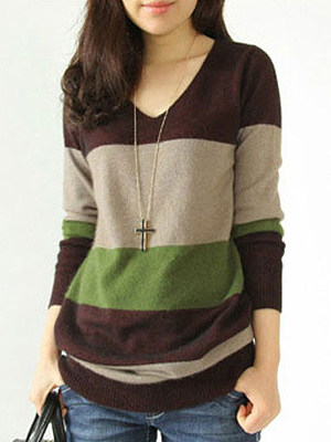 V Neck Patchwork Casual Color Block Long Sleeve Knit Pullover фото