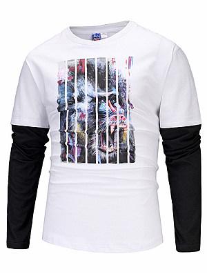 Distinctive Printed Color Block Men T-Shirt