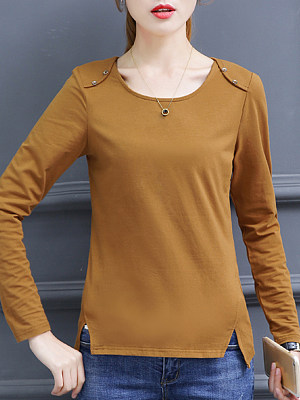 Round Neck Patchwork Casual Plain Long Sleeve T-Shirt, 9522389