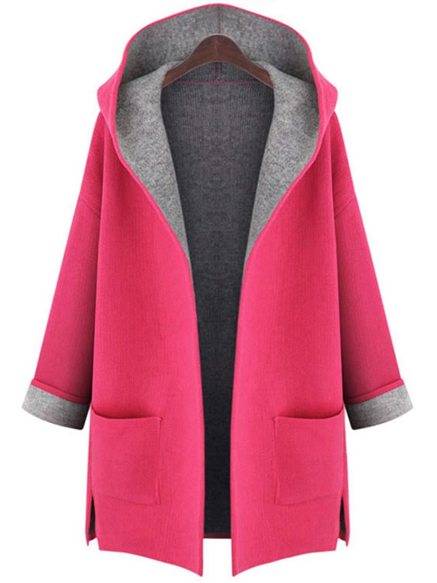 Hooded  Patch Pocket Side Slit  Color Block  Roll Up Sleeve Coats