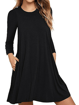 Round Neck Patch Pocket Plain Shift Dress фото