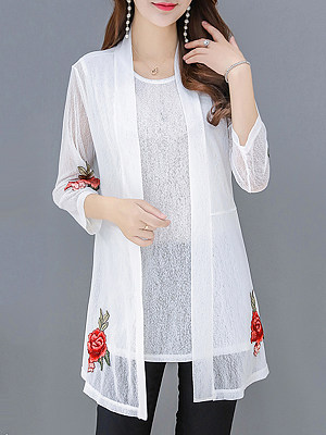Patchwork Elegant Embroidery Three-Quarter Sleeve Cardigan, 8523439