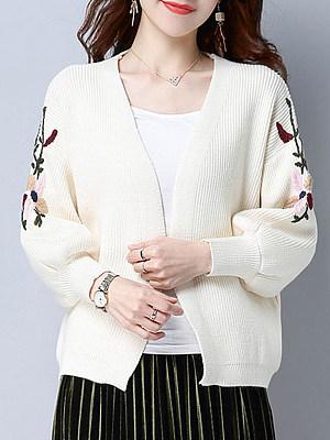 Embroidery  Elegant  Long Sleeve  Knit  Cardigan