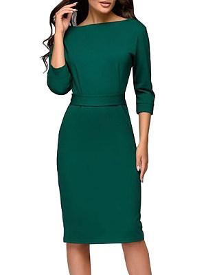 Round Neck Plain Bodycon Dress фото