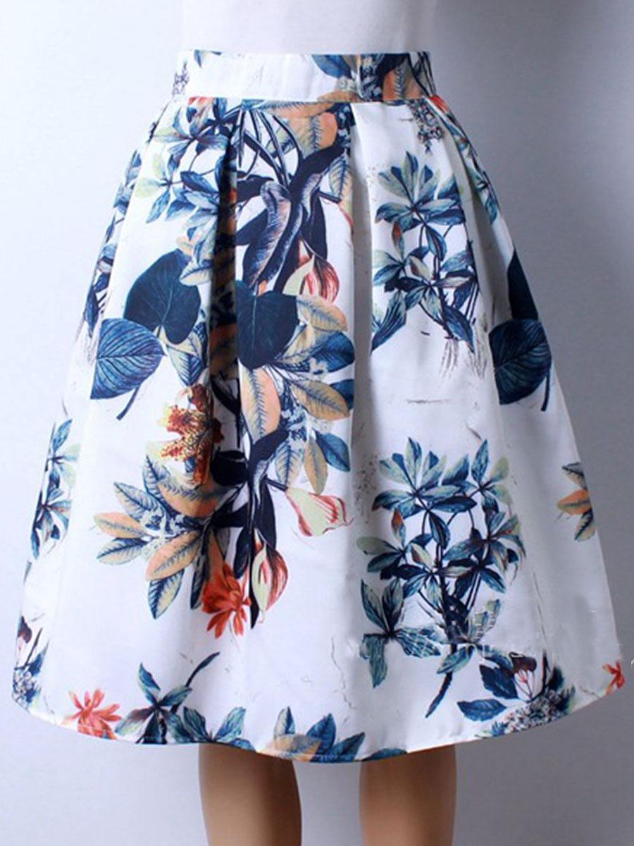 Elastic Waist  Printed  Flared Vintage Skater Dress