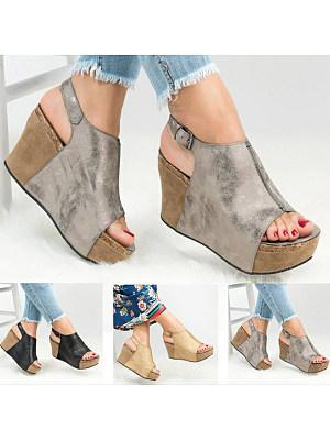 Plain  High Heeled  Peep Toe  Outdoor Wedge Sandals