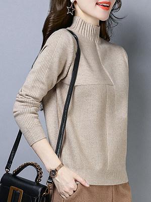 Short High Collar Patchwork Elegant Plain Long Sleeve Knit Pullover, 8378221