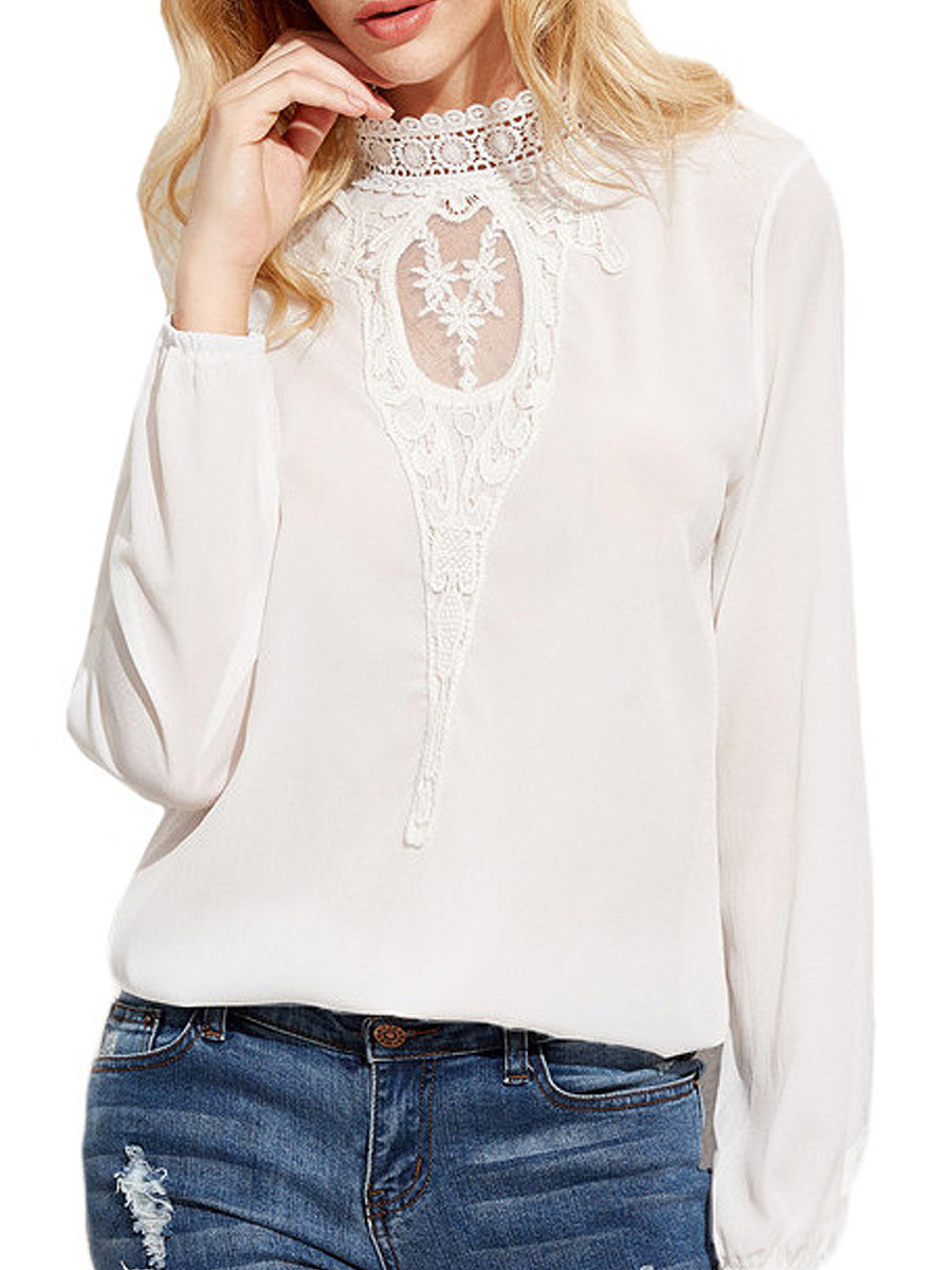 Autumn Spring  Polyester  Women  Decorative Lace Patchwork See-Through  Plain  Long Sleeve Blouses