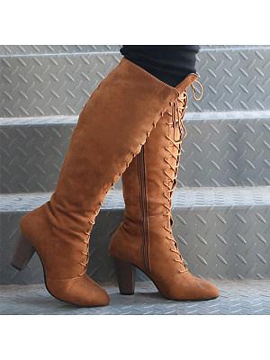 Plain Chunky High Heeled Velvet Round Toe Date Outdoor Knee High High Heels Boots, 5466633