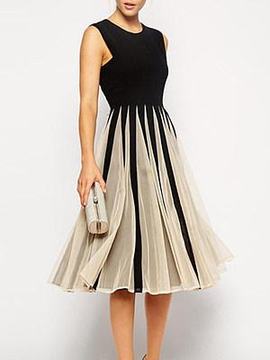 Round Neck  Striped Skater Dress