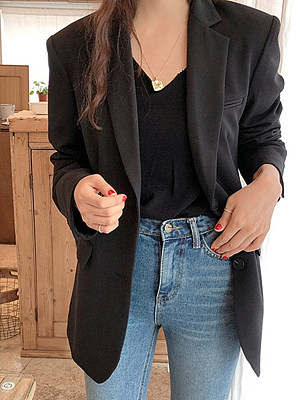 Fold-Over Collar Plain Blazers фото