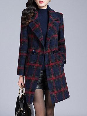 Lapel  Slit Pocket  Checkered Coats