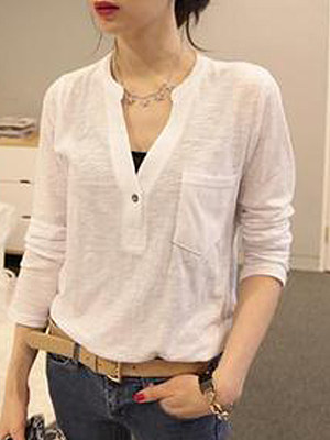 Autumn Spring Cotton Women V-Neck Asymmetric Hem Decorative Button Plain Long Sleeve Blouses