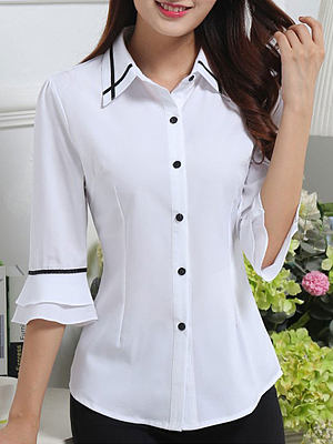 Spring Summer Polyester Women Turn Down Collar Single Breasted Contrast Piping Plain Half Sleeve Blouses фото