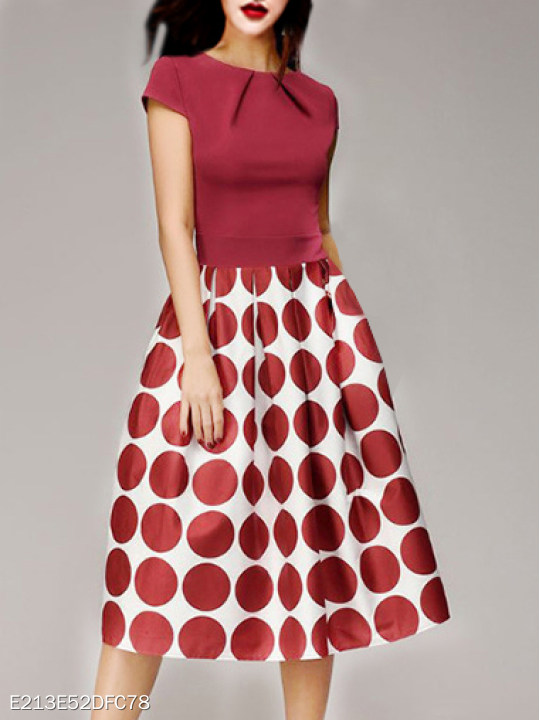 Round Neck Polka Dot Skater Dress - Polka dot outfits
