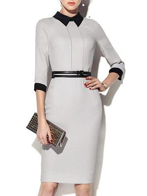Fold-Over Collar Colouring Bodycon Dress