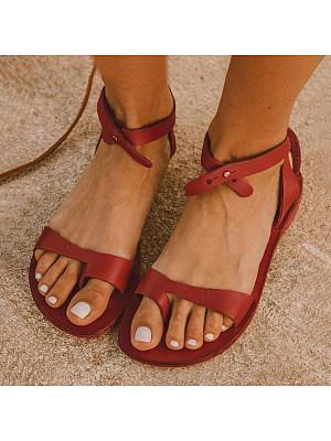 Plain Flat Peep Toe Casual Date Travel Flat Sandals фото